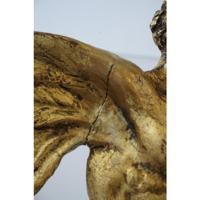 Lucite Stand With Antique Neoclassic Revival Winged AlaCentaur Figure Gold Leaf For Sale - Image 10 of 12