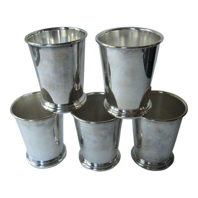 Vintage Sheridan Silverplate Mint Julep Cups -5 Pieces