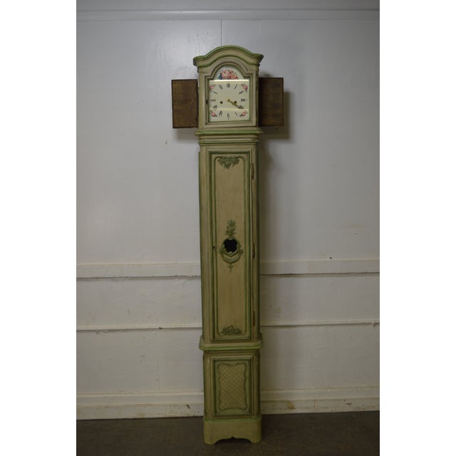 18th Century French Louis XV Period Hand Painted Long Case Clock For Sale - Image 5 of 13