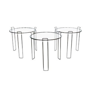 1970's Vintage Saporiti Chrome and Glass Nesting Tables- Set of 3 For Sale