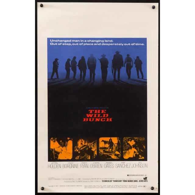 """Original, first release, unfolded U.S. """"Window Card"""" poster for the landmark 1969 Western film """"The Wild Bunch"""", directed..."""