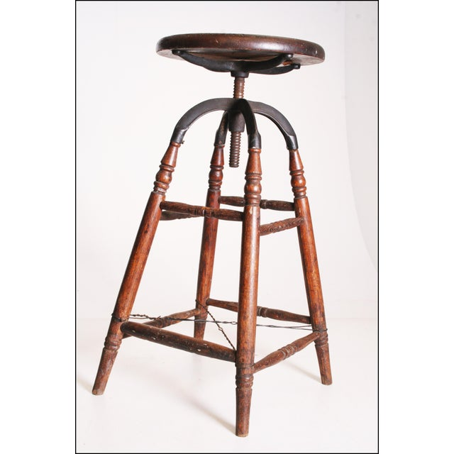 Vintage Industrial Wood & Cast Iron Adjustable Counter Stool - Image 9 of 11