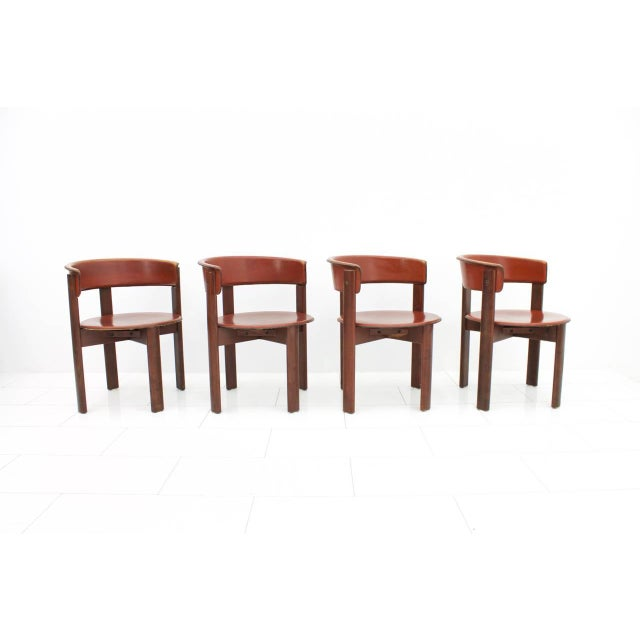 Mid-Century Modern Set of Four Cassina Dining Room Chairs in Red Leather Italy, 1970s For Sale - Image 3 of 12
