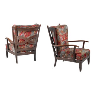 Paolo Buffa Pair of Oak Lounge Chairs, Italy, 1940s For Sale