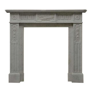 19th Century Lovely Decorated White Marble Louis XVI Mantelpiece For Sale