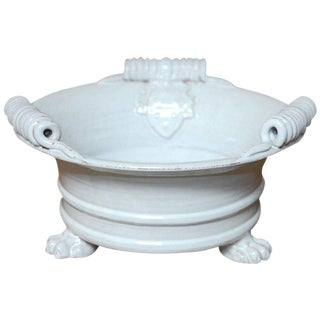 Italian Glazed Ceramic Footed Jardiniere with Craquelure Finish For Sale