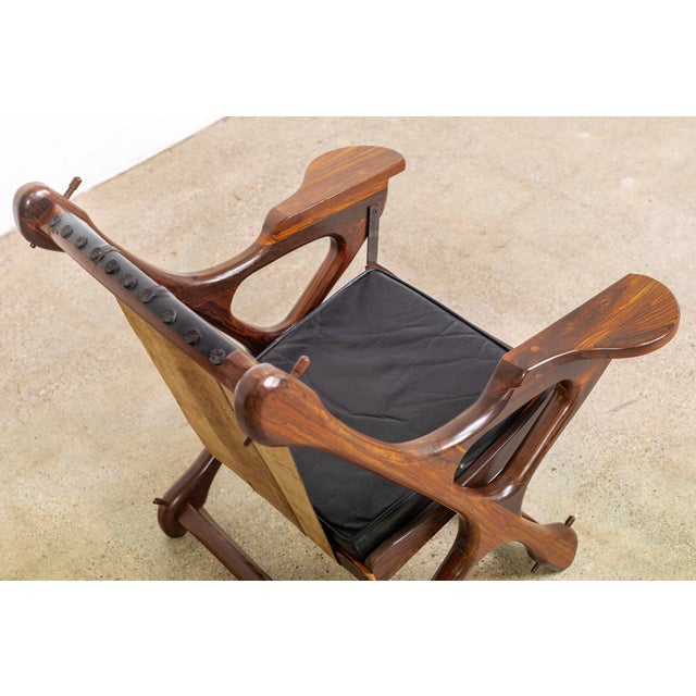 Brown Mid Century Mexican Modern Don Shoemaker Swinger Chair With Ottoman For Sale - Image 8 of 13