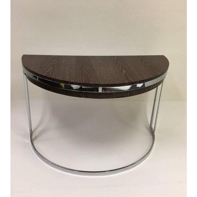 Cerused Oak and Chrome Demilune Desk by Milo Baughman - Image 6 of 11