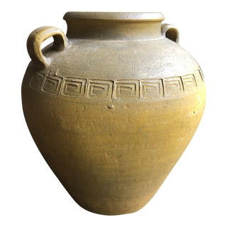 Greek Key Pottery Jug With Handles For Sale
