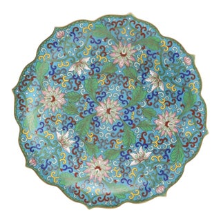 Antique Chinese Floral Cloisonné Plate/ Dish For Sale
