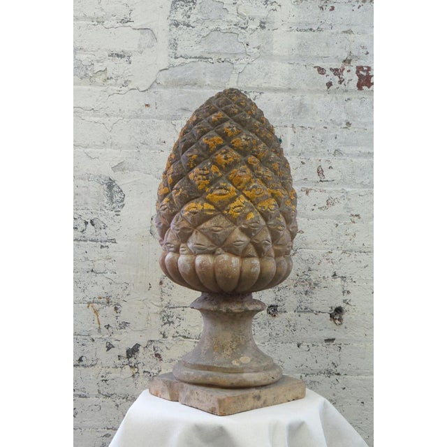 A finely modeled terracotta pine cone finial used as a garden ornament with naturally occurring patina.