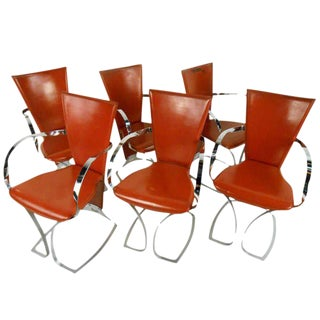 Vintage Chrome and Leather Dining Chairs - Set of 6