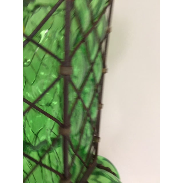 Blown Glass Vintage Murano Baloton Glass Green Single Light Ceiling Pendant For Sale - Image 7 of 8