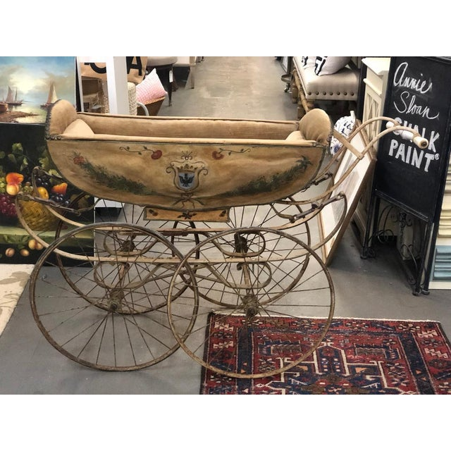 19th Century Continental Wood and Canvas Perambulator For Sale In Atlanta - Image 6 of 10