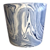 Image of Vintage Medium Tozai Home Terre Melee Blue Cachepot For Sale