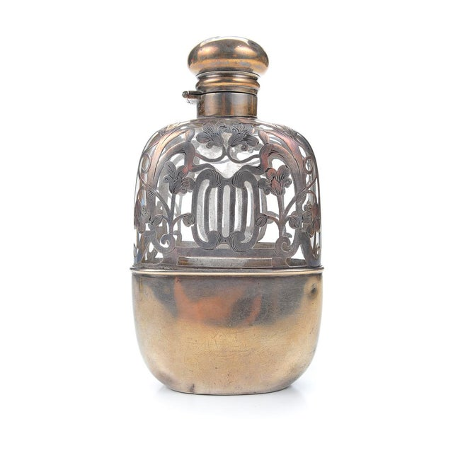 Antique 19th C. Sterling Silver & Glass Flask - Image 5 of 9
