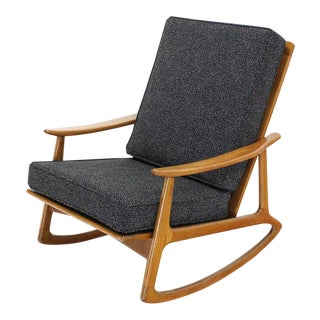 Danish Modern Rocking Lounge Chair New Upholstery For Sale