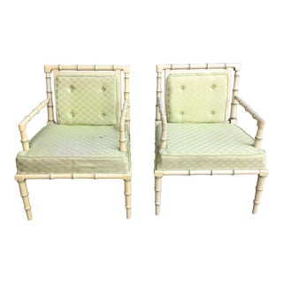 1960s Vintage Faux Bamboo Chippendale Chairs - A Pair For Sale