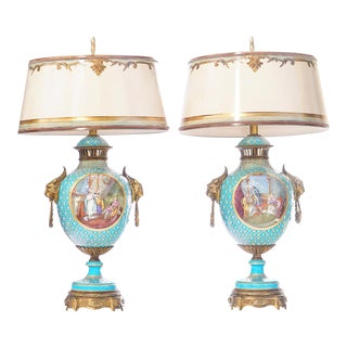 19th C. French Sévres Painted Porcelain and Bronze Lamps For Sale