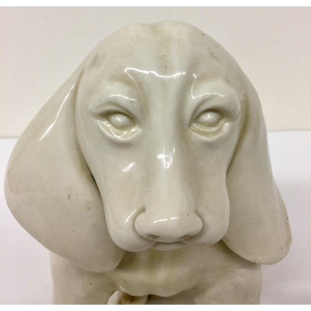 Antique French Porcelain Dog Statue For Sale - Image 5 of 11