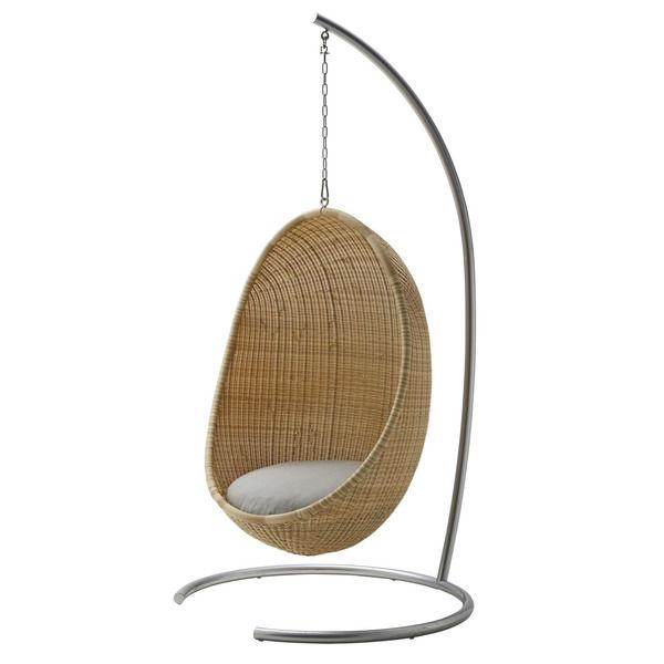 Nanna and Jørgen Ditzel Nanna Ditzel Hanging Egg Chair - Natural - Sunbrella Sailcloth Seagull Cushion with Stand and Chain For Sale - Image 4 of 4
