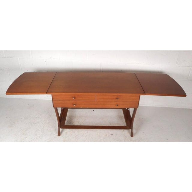 RWAY Mid-Century Modern Drop-Leaf Console Table For Sale - Image 5 of 11