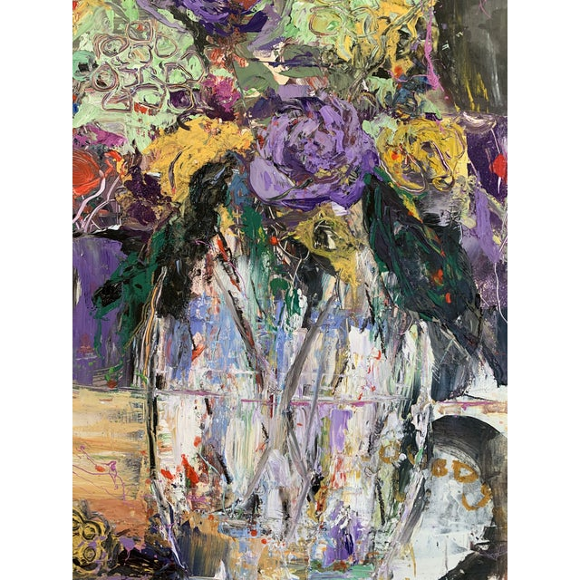 """Modern """"Purple Perfection"""" a Modern Floral by Jj Justice For Sale - Image 3 of 10"""
