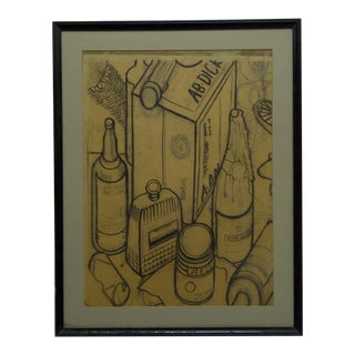 "Original Matted & Framed ""Bottles"" Advertisement Drawing"