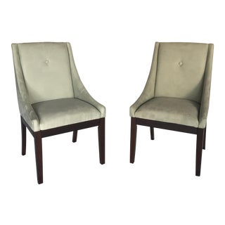 Aqua Suede Accent Chairs - A Pair