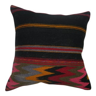 Boho Chic Flat Weave Textile Pillow For Sale