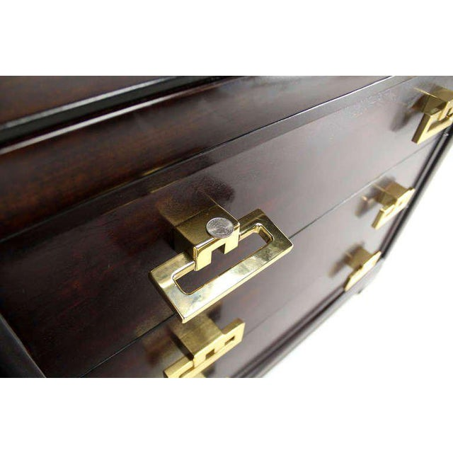 Brass Kittinger Modern Heavy Solid Bachelor Chest with Brass Pulls For Sale - Image 7 of 7