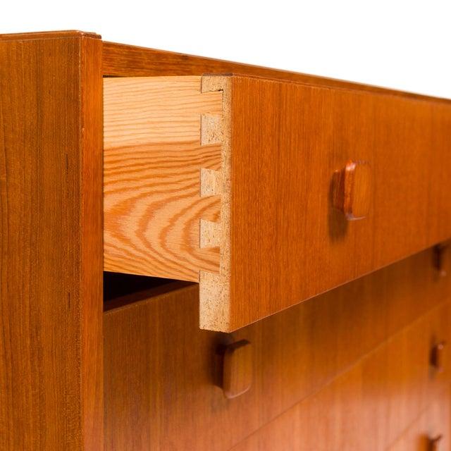 Brown Vintage Danish Mid-Century Teak Four Drawer Dresser For Sale - Image 8 of 9