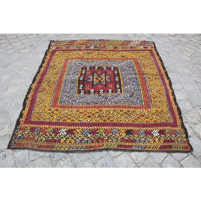 Tribal Vintage Vivid Color Cicim Kilim Rug - 3′4″ × 3′5″ For Sale - Image 12 of 13