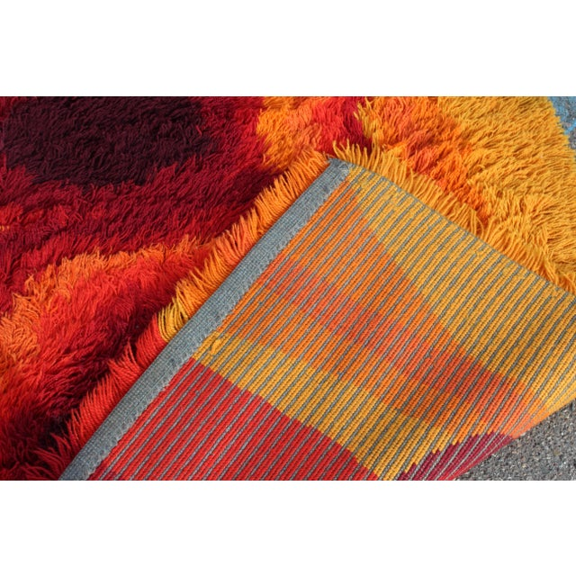 Mid-Century Modern Red Orange Rya Shag Area Rug Carpet 1970s For Sale In Detroit - Image 6 of 7