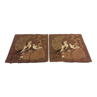 Thai Silk Peacock Accent Pillow Covers - a Pair For Sale