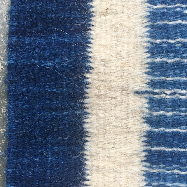 Hand Dyed Mexican Indigo Blue Wool Rug - 1′11″ × 2′9″ For Sale In Atlanta - Image 6 of 7