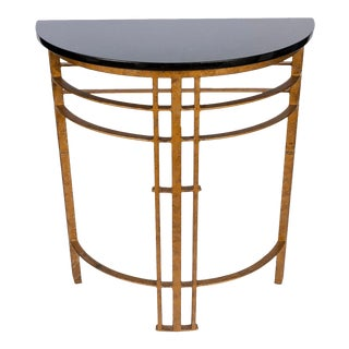 Gilt Iron and Granite Demi Lune Consoles For Sale