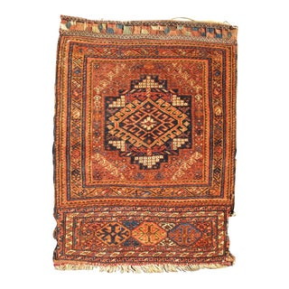 Antique Two-Panel Qashqai Rug With Medallion Design in Orange and Brown For Sale