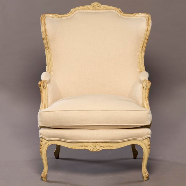 White Early 20th Century Newly Upholstered French Bergere For Sale - Image 8 of 8