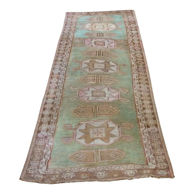 "Vintage Turkish Anatolian Runner Sea Green 7'9""x3' For Sale"