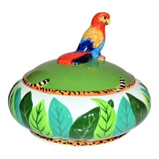 Porcelain Parrot Covered Bowl For Sale