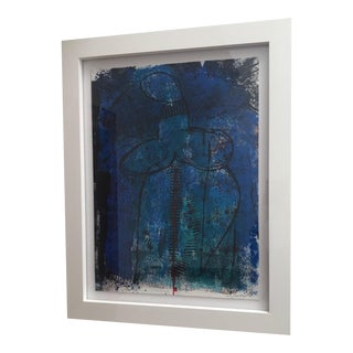 Figurative Nude Monoprint Blue Painting For Sale