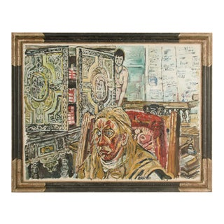 """Mid 20th Century """"Jean in Army Leather"""" Figurative Oil Painting by John Randall Bratby, Framed For Sale"""