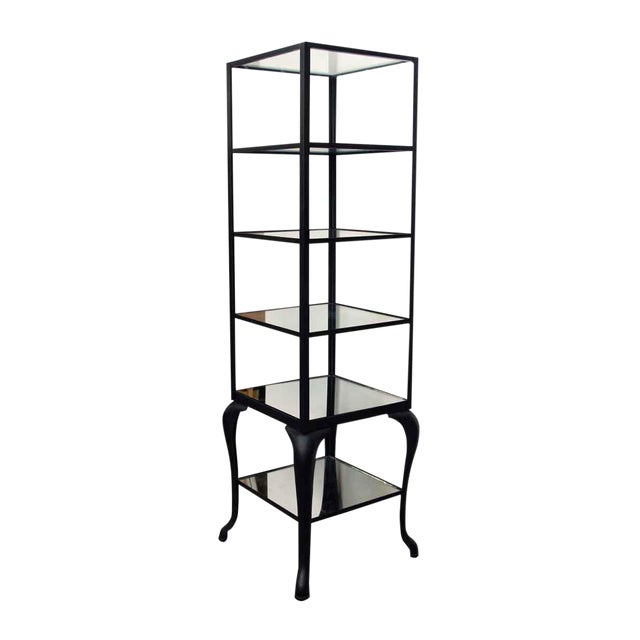 Cast Steel Shelving Unit with Distressed Mirrored Glass Shelves For Sale