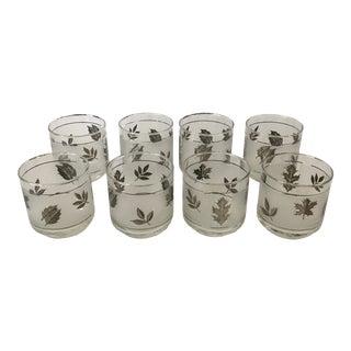Vintage 1960's Libbey Silver Leaf Rocks Glasses - Set of 8 For Sale