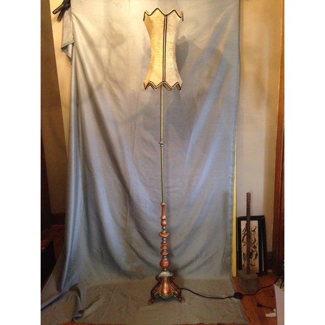 Retro Cornucopia Handpainted Floor Lamp - Image 2 of 7