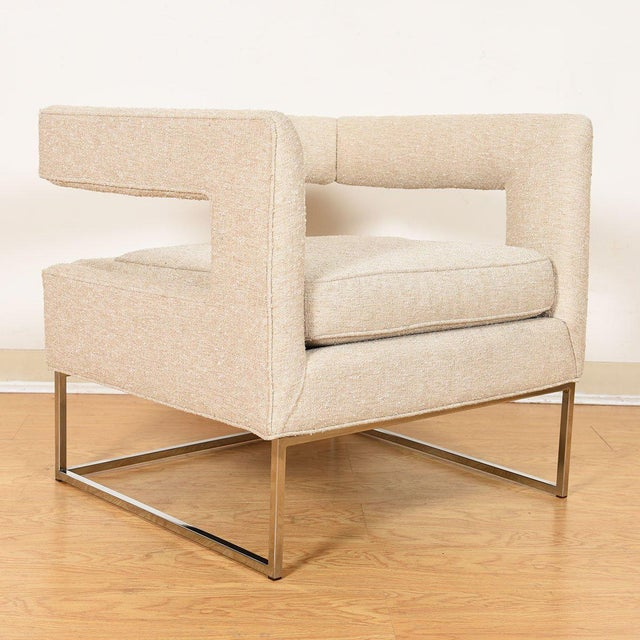 Mid 20th Century Pair Milo Baughman Open Back Club Chairs For Sale - Image 5 of 13