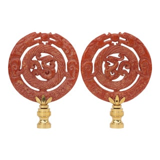 Stone Dragon Lamp Finials - a Pair For Sale