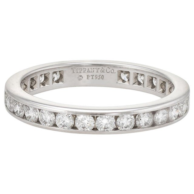 Estate Tiffany & Co. 1 Carat Diamond Wedding Band Platinum Wide Ring For Sale In Los Angeles - Image 6 of 6