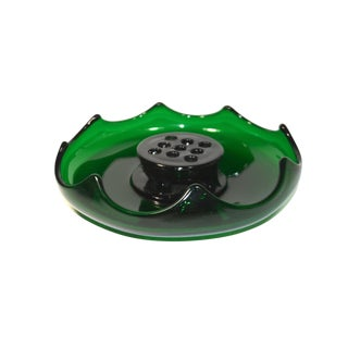 Vintage Dark Green Glass Scalloped Rim Flower Frog Centerpiece Bowl For Sale